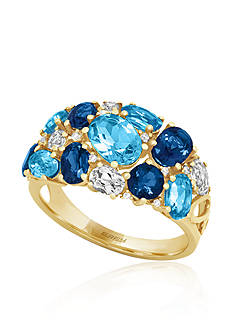Effy Blue Topaz and Diamond Ring in 14k Yellow Gold
