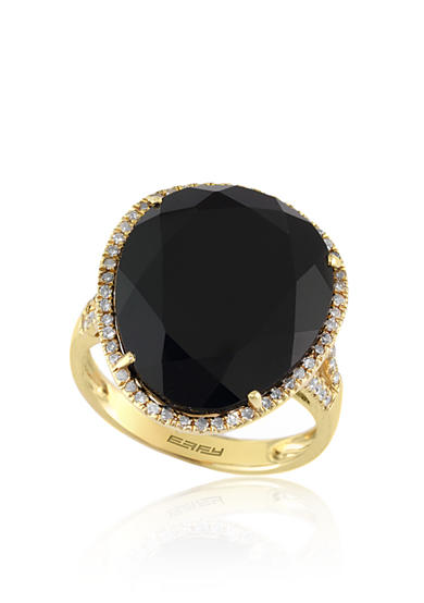 Effy® Onyx and Diamond Ring in 14k Yellow Gold