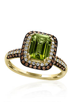 Effy Peridot & Diamond Double Halo Ring in 14K Yellow Gold