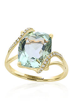 Effy® Green Amethyst Ring with Diamond Overlay in 14k Yellow Gold