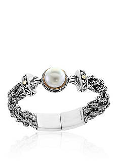 Effy Freshwater Pearl Braided Bracelet in 18k Yellow Gold and Sterling Silver
