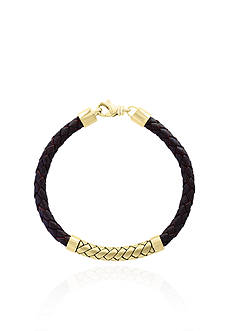 Effy® 18k Yellow Gold Plating over Sterling Silver Leather Bracelet