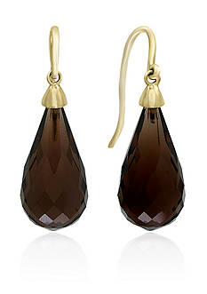 Effy Smoky Quartz Drop Earrings in 14K Yellow Gold