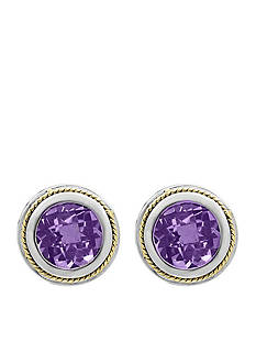 Effy® Amethyst Stud Earrings in Sterling Silver and 18k Yellow Gold