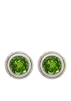 Effy Round Peridot and 18k Yellow Gold Earrings in Sterling Silver