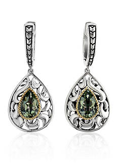 Effy Green Amethyst Drop Earrings in Sterling Silver and 18K Yellow Gold