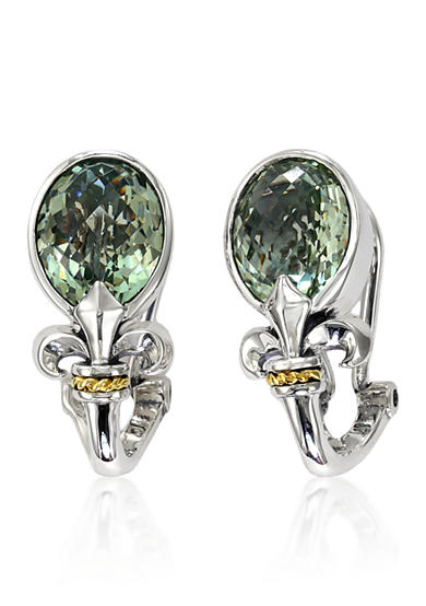 Effy® Green Amethyst Earrings in Sterling Silver and 18K Yellow Gold