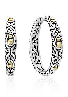 Effy® Sterling Silver with 18k Yellow Gold Hoop Earrings