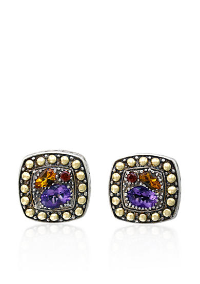 Effy® Multi Colored Studs in Sterling Silver and 18K Yellow Gold