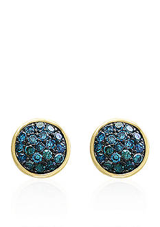 Effy 0.28 ct. t.w. Blue Diamond Stud Earrings in 14k Yellow Gold with Sterling Silver