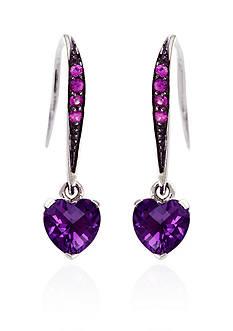 Effy Amethyst & Purple Sapphire Earrings in Sterling Silver