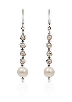 Effy Round Freshwater Pearl Drop Earrings in Sterling Silver