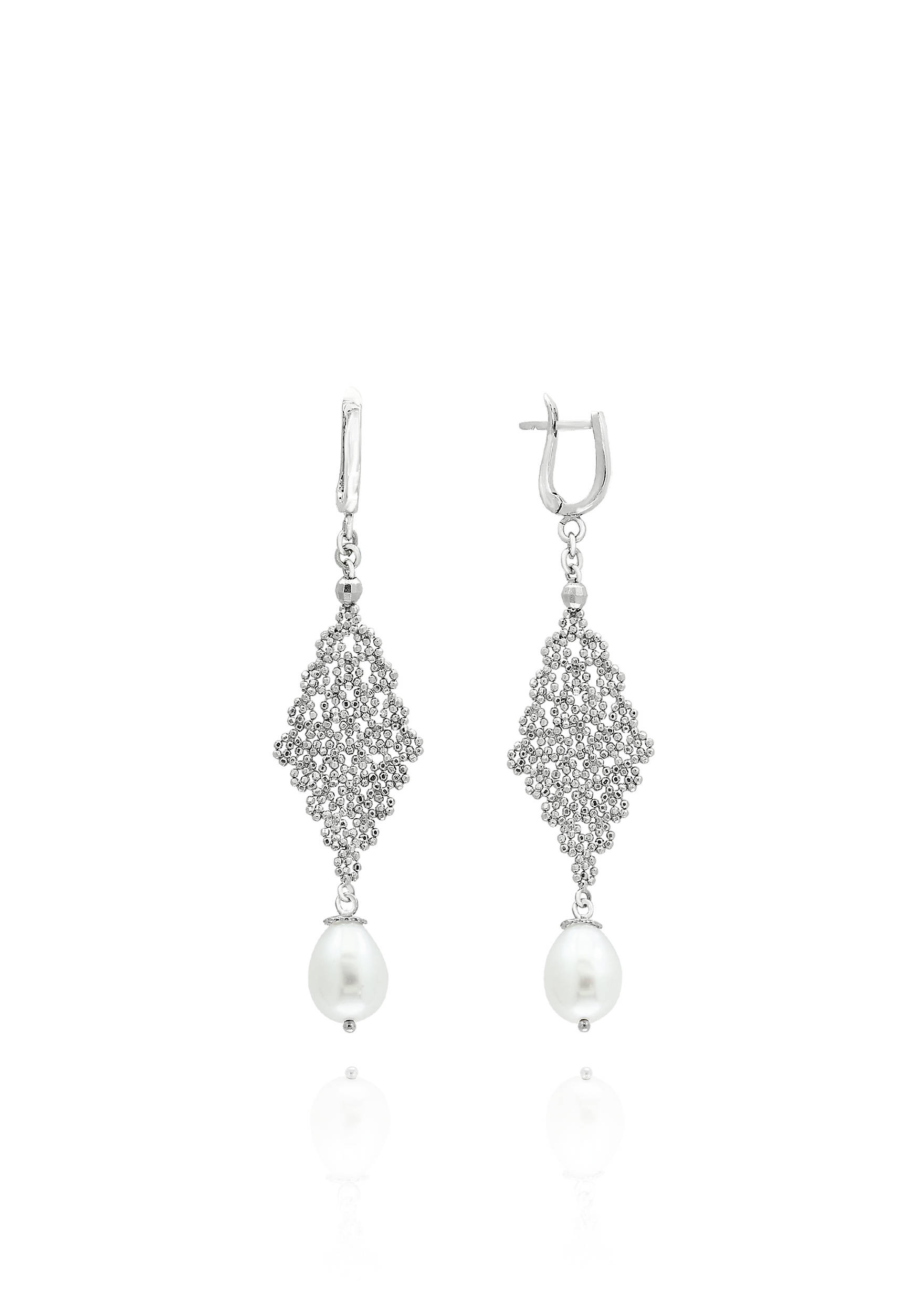 Effy® Oval Freshwater Pearl Earrings In Sterling Silver 5400451ies0j288j2  Images