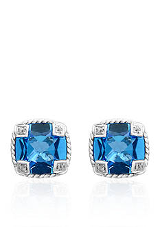 Effy Blue Topaz and White Sapphire Earrings in Sterling Silver