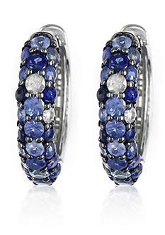 Effy Sapphire Hoop Earrings in Sterling Silver