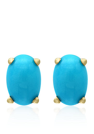 Effy® Turquoise Oval Stud Earrings in 14k Yellow Gold
