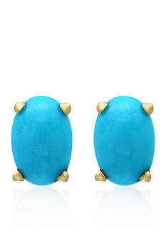 Effy Turquoise Oval Stud Earrings in 14k Yellow Gold