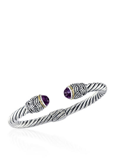 Effy® Amethyst Bangle in Sterling Silver and 18K Yellow Gold