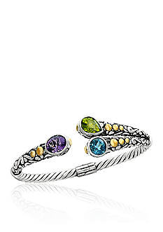 Effy Multi Colored Gemstone Cuff Bracelet in Sterling Silver and 18K Yellow Gold