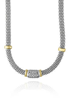 Effy® 0.60 Diamond Bar Necklace in Sterling Silver and 18k Yellow Gold
