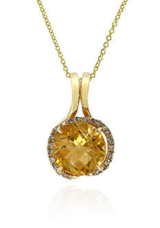 Effy Citrine and Diamond Necklace in 14k Yellow Gold