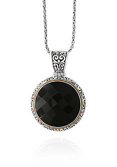 Effy Onyx Necklace in Sterling Silver and 18K Yellow Gold