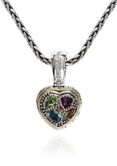 Effy® Multi Colored Heart Pendant in Sterling SIlver and 18K Yellow Gold