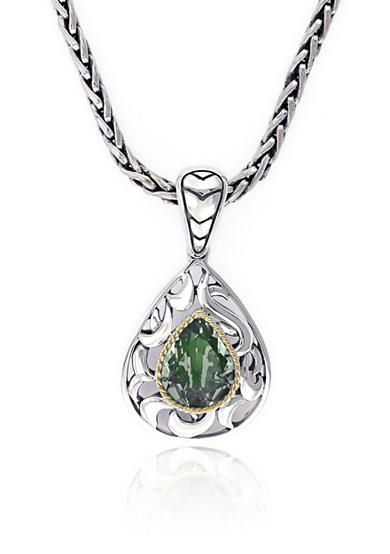 Effy® Green Amethyst Pendant in Sterling Silver and 18K Yellow Gold
