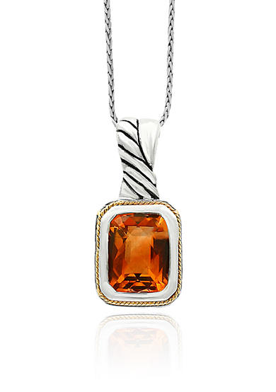 Effy® Citrine Pendant in Sterling Silver and 18K Yellow Gold
