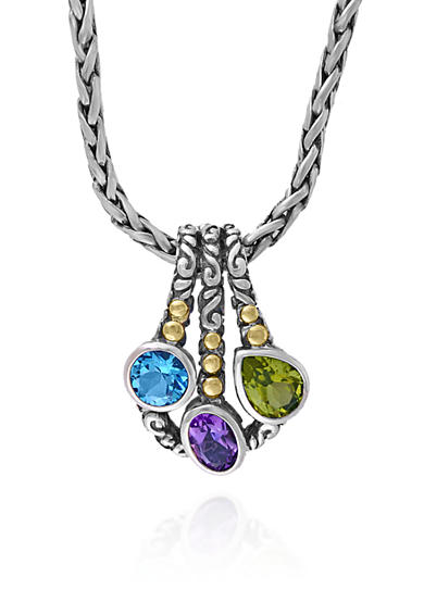 Effy® Multi Colored Pendant in Sterling Silver and 18K Yellow Gold