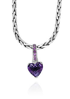 Effy Amethyst and Pink Sapphire Heart Pendant in Sterling Silver