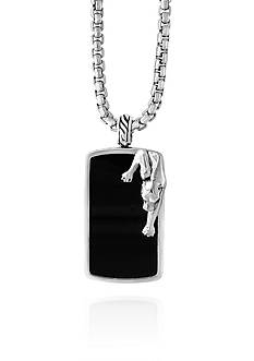 Effy® Onyx Panther Pendant in Sterling Silver