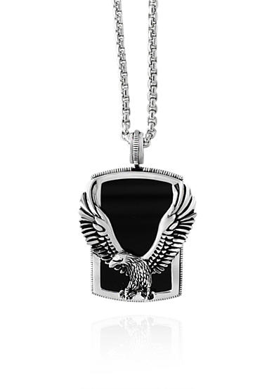 Effy® Onyx Eagle Pendant Necklace in Sterling Silver
