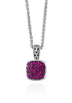 Effy Ruby Pave Pendant in Sterling Silver
