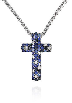 Effy Sapphire Cross Pendant Necklace in 10K Sterling Silver