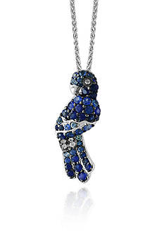 Effy Sapphire Parrot Necklace in Sterling Silver