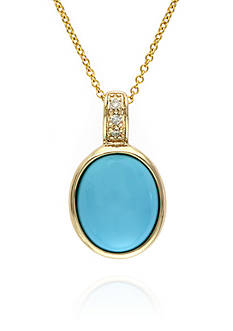 Effy Turquoise and Diamond Pendant in 14K Yellow Gold