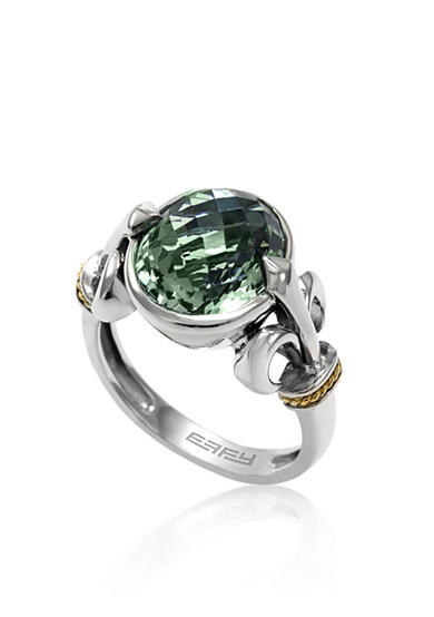 Effy® Green Amethyst Ring in Sterling Silver and 18K Yellow Gold