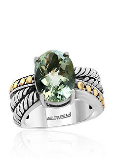 Effy Green Amethyst Ring in Sterling Silver and 18K Yellow Gold