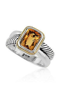 Effy Citrine Ring in Sterling Silver and 18k Yellow Gold