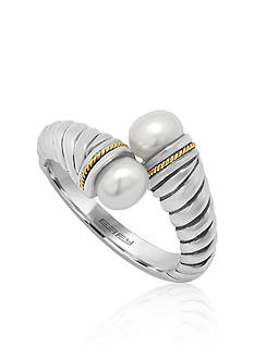 Effy Round Freshwater Pearl & 18K Yellow Gold Ring in Sterling Silver