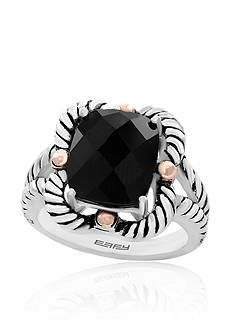 Effy Emerald Cut Onyx ring in Sterling Silver & 18K Yellow Gold