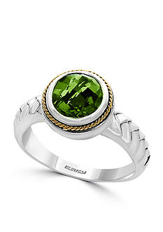 Effy Round Peridot and 18k Yellow Gold Ring in Sterling Silver
