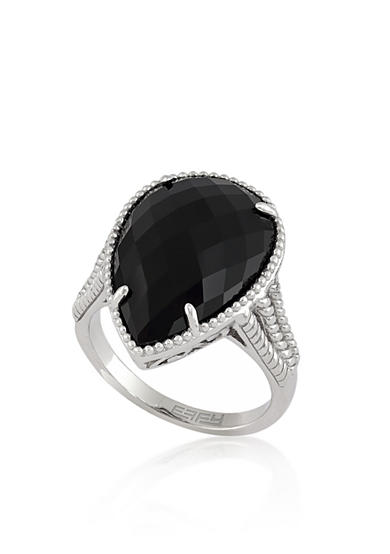 Effy® Pear Cut Onyx Ring in Sterling Silver