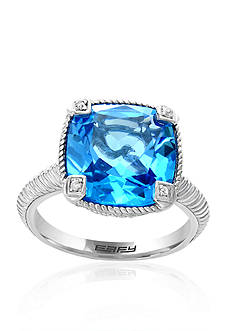 Effy Blue Topaz and White Sapphire Ring in Sterling Silver