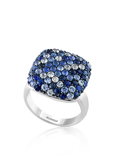 Effy® Sapphire Square Ring in 10K Sterling Silver