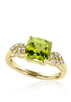 Effy Peridot and Diamond Ring in 14k Yellow Gold