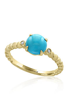 Effy Turquoise and Diamond Ring in 14k Yellow Gold