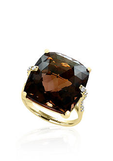 Effy® Smokey Quartz and Diamond Ring in 14k Yellow Gold