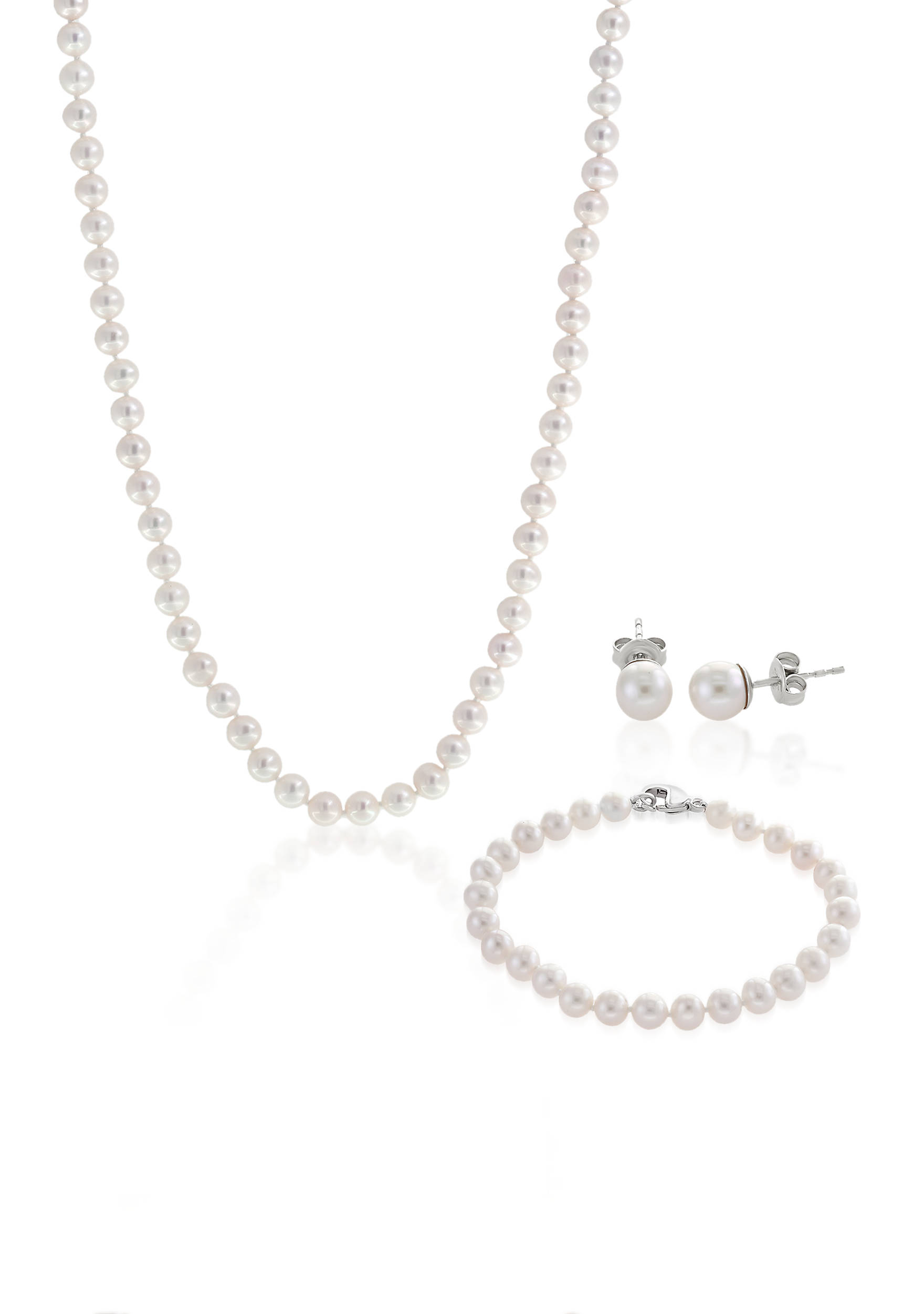 Sterling Silver Freshwater Pearl Necklace Earrings And Bracelet Set